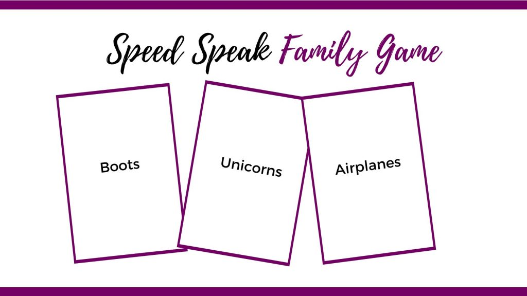 speed speak family dinner game